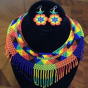 Huichol Art Necklace and Earrings set